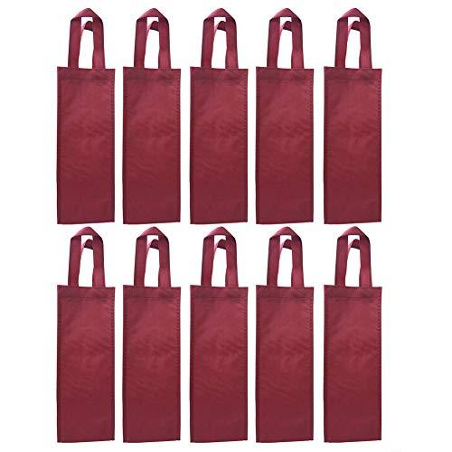RJHome Single Bottle Wine Bag Reusable Gift Bag Non-Woven Bottle Wine Holder (Red Wine Color-10 Pack)