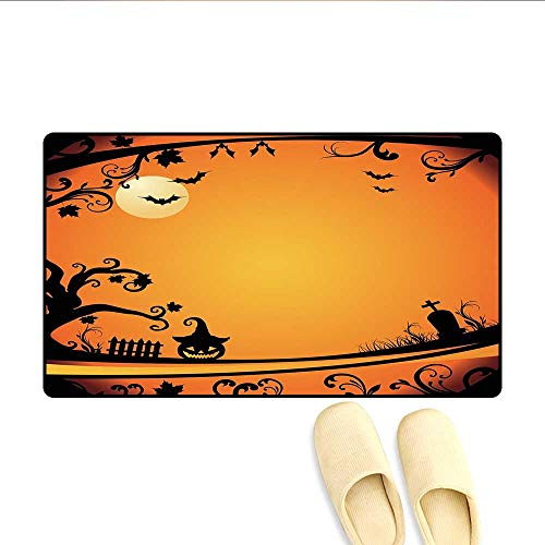 Bath Mat Halloween Themed Image Eerie Atmosphere Gravestone