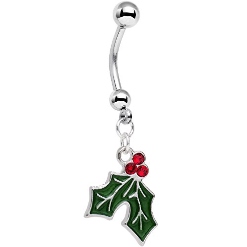 (Body Candy Holiday Mistletoe Dangle Belly Ring Created with Swarovski Crystals )