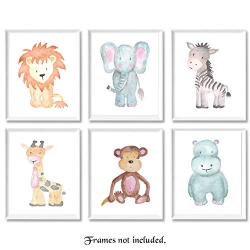 (Baby Safari Animals Prints for Nursery - Set of 6 8x10 Poster Pictures of Lion, Elephant, Zebra, Giraffe, Monkey & Hippo - Unframed Wall Art for Baby's Room - Great)