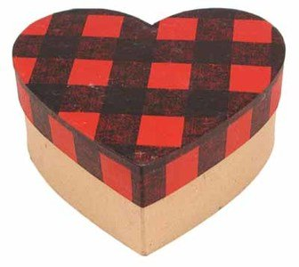 Factory Direct Craft Paper Mache Heart Shaped Boxes With Buffalo Check - 2 ()
