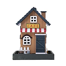 Country Cottages Colorful Hand-Painted Outdoor Decorative Wooden Bird House&Bird Feeder (A)