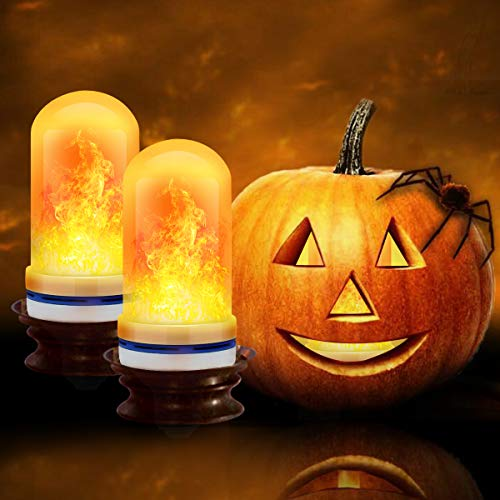 CPPSLEE - LED Flame Effect Light Bulb - 4 Modes with Upside Down Effect -2 Pack E26 Base LED Bulb - Flame Bulbs for Halloween Decorations /Hotel/Bar Party Decoration