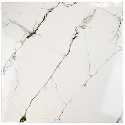 """SomerTile FPE18CLC Clasico Marble Ceramic Floor and Wall Tile, 18"""" x 18"""", White/Brown/Green"""