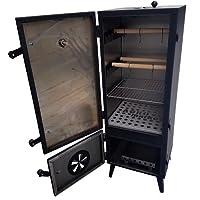 Räucherschrank groß Schwarz Stahl Smoking Box Garten Balkon ✔ eckig ✔ Stand ✔ Grillen mit Holzkohle