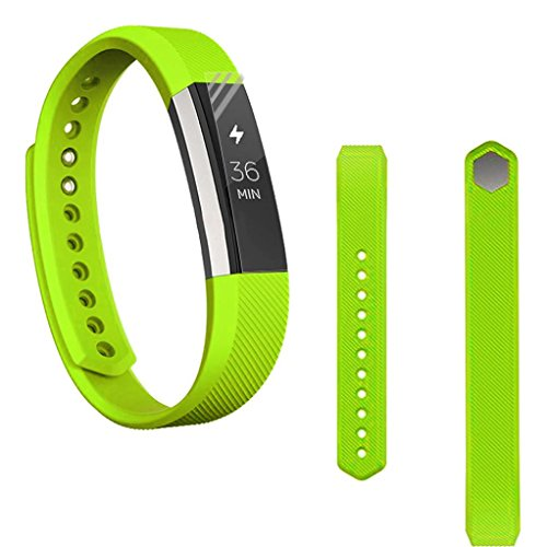 Creazy Replacement Wrist Band Silicon Strap Clasp+Protector Film For Fitbit Alta HR (Hr Womens Green)
