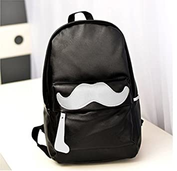 a0977b115e Funky Fashion Cool Moustache Patterned PU Leather Leisure Backpack Unisex  Boys And Girls Casual Daypack Hot ...