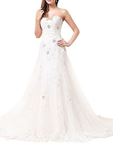 -line Lace Crystals Wedding Dresses Long Bridal Gowns Ivory US 14 (Bonny Bridal Dresses)
