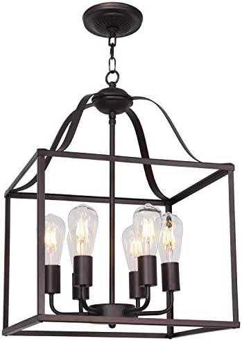 MELUCEE 16-inch Foyer Chandelier Bird Cage Oil Rubbed Bronze 6 Light