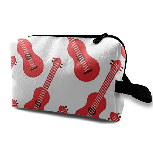 Guitars Bone Red (Cosmetic Bag Red Music Guitar Instrument Makeup Pouch Toiletries Bags Storage Resistance Carry Handle Pen Pencil Power Lines Travel Cases)