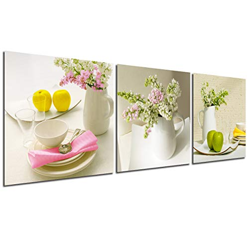 Kitchen Wall Art Canvas Flowers - Home Decor Floral Modern Painting Fruit Prints Dining Room Decoration Bouquet Vase Dish Pictures Pot Bowl Elegant Tableware Poster 3 Panel Still Life Artwork (Best Wallpaper For Dining Room)