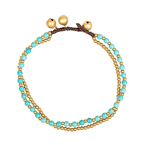 TOMLEE Vintage Handmade Wax Cord Stone Beaded Anklets for Women, Gypsy Style Boho Anklet for Teen Girls, Bohemian Ankle Bracelets for Women (Green-Round Stone)