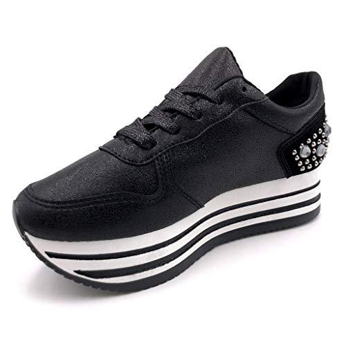 Femme 5 Baskets Noir Clouté Chaussure Intérieur Textile Perle Street 4 Mode Rayures Compensé Angkorly Cm Talon Plateforme q7BXF4