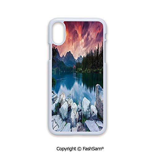 Phone Case Compatible with iPhone X Black Edge Lake Forest Mountains National Park Slovakia Europe Dramatic Overcrast Sky Idyllic 2D Print Hard Plastic Phone Case]()