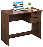 Brown Computer Desk Writing Study Table with 2 Side Drawers Classic Home Office Laptop Desk Brown...