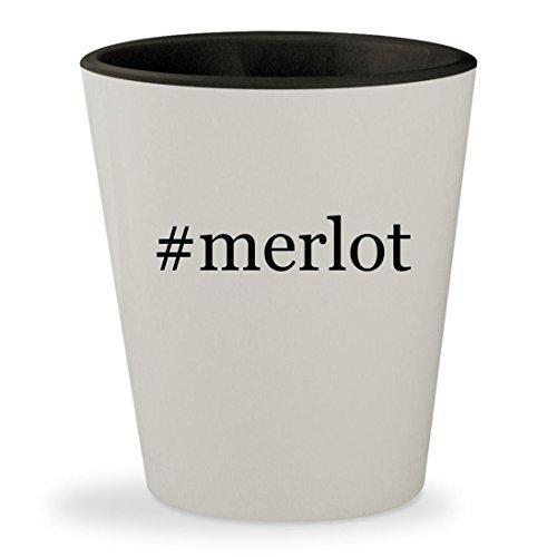 #merlot - Hashtag White Outer & Black Inner Ceramic 1.5oz Shot Glass