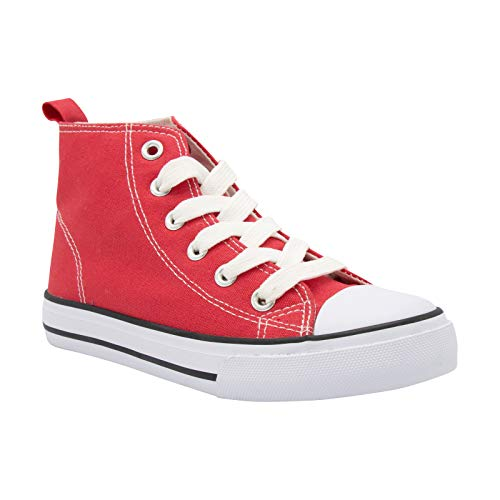 ZOOGS Fashion High-Top Canvas Sneakers Girls Boys Youth, Toddlers & Kids Red
