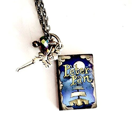 Peter Pan Mini Book Necklace Tinkerbell Handmade Gift by Aunt Matilda