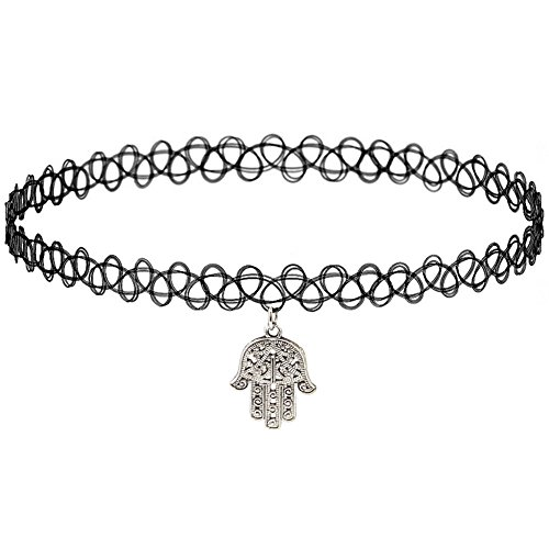 Girlprops Tattoo Choker Necklace, Hamsa Charm, Popular in the 80S 90S, Hamsa Charm in Black with Silver Tone Finish