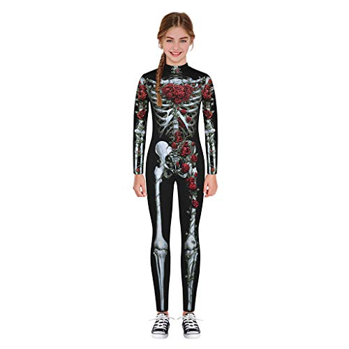 charmsamx Kids Halloween Jumpsuit Cosplay Costume Skeleton Printed Bodysuit Lifelike Novelty Skull Tights Halloween Costumes for Boys Girls ()