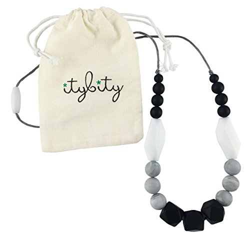 Baby Teething Necklace for Mom, Silicone Teething Beads, 100% BPA Free (Black, White, Gray, Black)