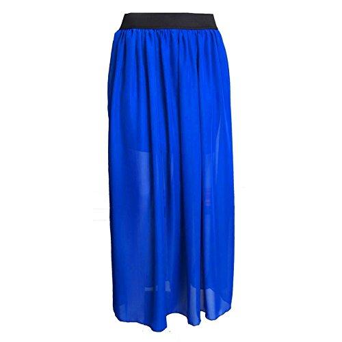 Mujeres doble capa gasa plisada Retro vestido Maxi largo elástico de la cintura falda Azul real