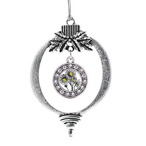 - Inspired Silver - Daisy Flower Charm Ornament - Silver Circle Charm Holiday Ornaments with Cubic Zirconia Jewelry