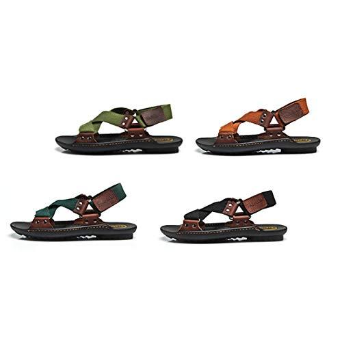 Verano Ocio Playa Moda Los Respirables De Hombres Zapatos Vaca Antideslizante Cuero Genuino Suela Masculinas Sandalias YqZWzw48v7
