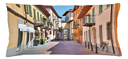 (lsrIYzy City Throw Pillow Cushion Cover, Town of Alba Piedmont Northern Italy Narrow Stone Paved Street Among Colorful Houses, Decorative Square Accent Pillow Case, 18 X 18 inches, Multicolor)