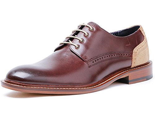 CSDM Men'S Genuine Leather Business Dress British Shoes Wedding Shoes Large Size Bullock Shoes , wine red , 43 by CSDM