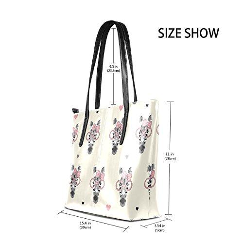 COOSUN Zebra Kopf Muster PU Leder Schultertasche Handtasche und Handtaschen Tasche für Frauen