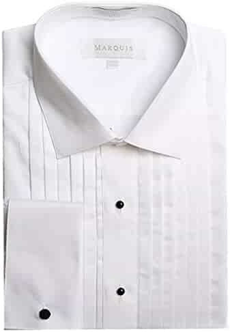 cd990c1ce91 Marquis Men s French Cuff Lay Down Collar Tuxedo Shirt (Cufflinks Included)
