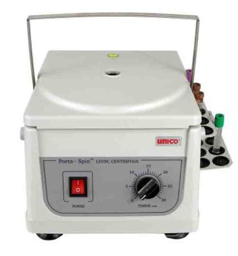UNICO C826H Porta-Spin Portable Centrifuge, 3700 RPM Fixed Speed, 30 Minutes Timer, 6 Place Rotor, 6 x 10 mL Capacity, 18 Place Tube Holdster Rack, 12 VDC