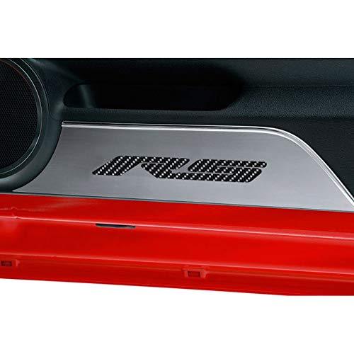 Elite Auto Chrome Acc Door Panel Kick Plates Orange CF 'RS' Inlay fit for 2010-2015 Camaro-Brushed -