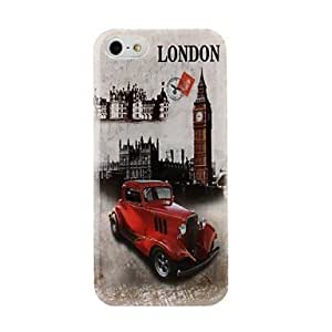 TOPQQ London Big Ben and Red Car Pattern Plastic Hard Case for iPhone 5/5S