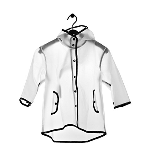 PERTTY Kids Rain Poncho Boys Raincoat Girls Durable Translucent Rain Cape, Outdoor Accessory for Travel, Picnic, Camping, Portable Rain Wear with Hat Hood Unisex for Children, Transparent (L) by PERTTY (Image #2)