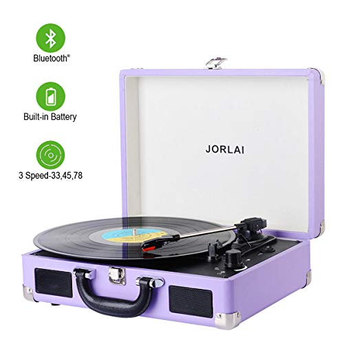 Vinyl Record Player JORLAI Turntable, 3 Speed BT Record Player Suitcase with Built in Speakers/Rechargable Battery/Vinyl-to-MP3 Recording/Headphone Jack/Aux Input/RCA Line Out - Lavender (Crosley Lavender Ice Cruiser Bluetooth Record Player)