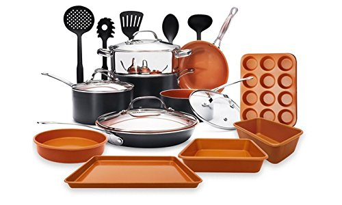 Gotham Steel 20 Piece All in One Kitchen Cookware + Bakeware and Utensil Set with Non-Stick Ti-Cerama Copper Coating - Includes Skillets, Stock Pots, Cookie Sheet Baking Pans and 5 utensils