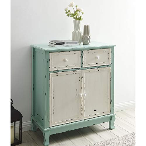 (BELLEZE Wood Cabinet with Drawers and Doors Vintage Accent Storage Chest for Entryway, Living Room (Antique Blue))