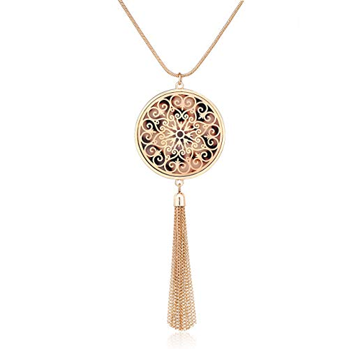 (MOLOCH Long Necklaces for Woman Disk Circle Pendant Necklaces Tassel Fringe Necklace Set Statement Pendant (Disk-Gold-Leopard))