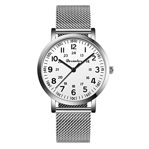 Unisex Men Women Stainless Steel Mesh Milanese Strap Band Quartz Watch for Medical Professionals Arabic Numerals Military Time for Students Doctors Nurses (Silver White-1)