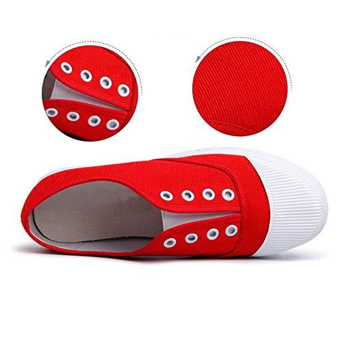 Chaussures Léger Toile Skateboard De Rouge Filles Plat Huatime Bas Haut Femme Sport Poids Respirant Occasionnel Formateurs Baskets A85aqB