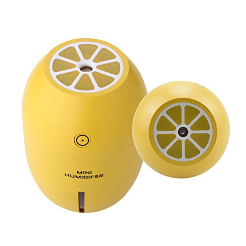 Lemon 180 ML Mini USB Ultrasonic Cool Mist Air Humidifier with Night Light for Car Humidifier Bedroom and Office, Yellow