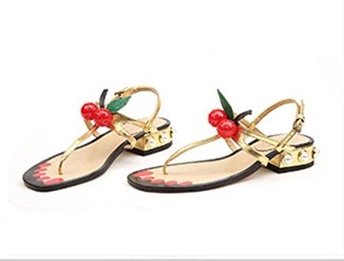 Perlas Gold Gruesa Sra Salvaje Xia De Tiras Con Las Solapa La Romanos Cereza Zapatos Mujeres Sandalias 5nZnRF