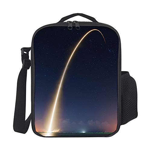 SARA NELL Kids Lunch Backpack Lunch Box Rocket Starry Space Meteor Lunch Bag Large Lunch Boxes Cooler Meal Prep Lunch Tote With Shoulder Strap For Boys Girls Teens