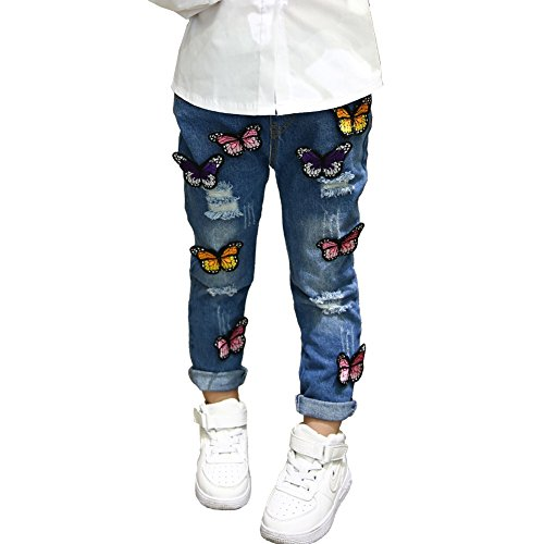 Loveble Little Girls Ripped Jeans 3D Butterfly Embroidery Denim Pants Broken Hole Pants Trousers for 2-7 Years Old