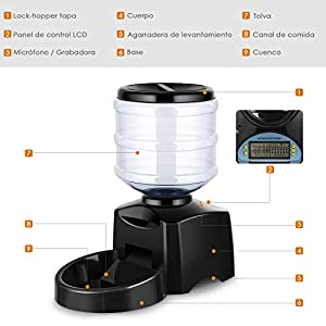 Amzdeal-Comedero-Automatico-Gatos-y-Perros-55L-Alimentador-de-Mascotas-con-Pantalla-LCD-Dispensador-con-Funcion-de-Grabacion