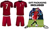 Cristiano Ronaldo Soccer Jersey 2018 World Cup #7 Portugal Home Youth Ronaldo Soccer Jersey & Shorts Kids Premium Gift Kit ✮ BONUS Ronaldo Backpack (Youth Large 10-13 years, Home Short Sleeve)