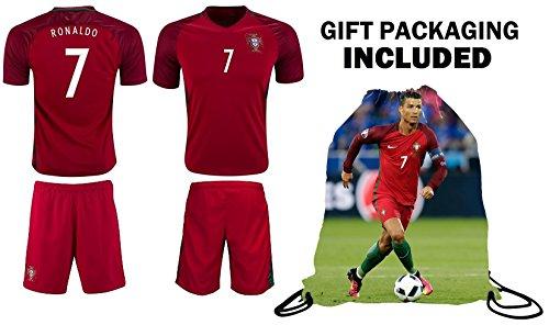 Cristiano Ronaldo Soccer Jersey 2018 World Cup #7 Portugal Home Youth Ronaldo Soccer Jersey & Shorts Kids Premium Gift Kit  BONUS Ronaldo Backpack (Youth Large 10-13 years, Home Short Sleeve)