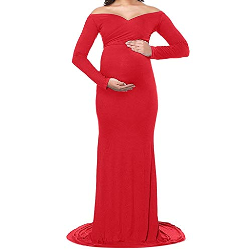 general3 Women's Maternity Dress Pregnant V Neck Baby Shower Cocktail Long Maxi Prom Gown Dress Dress Photography Red]()
